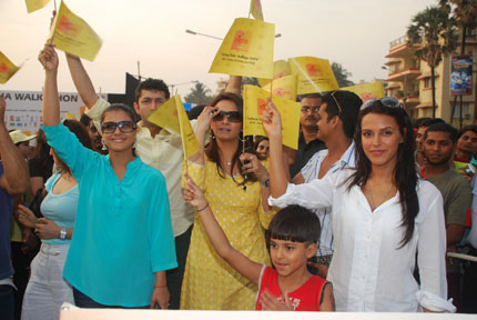 Bollywood actor Kajol, Kunal Kohli, Diana Hayden and Neha Dhupia at the 'Shiksha Walkathon' at Taj Land's End in Mumbai.