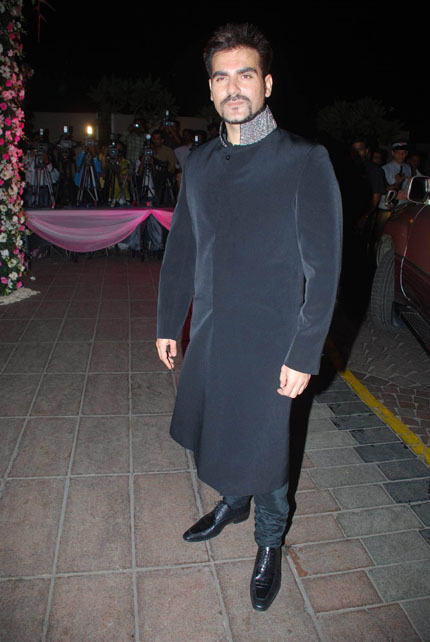 Bollywood actor Arbaz Khan at the Amrita Arora wedding bash at Taj Land's.