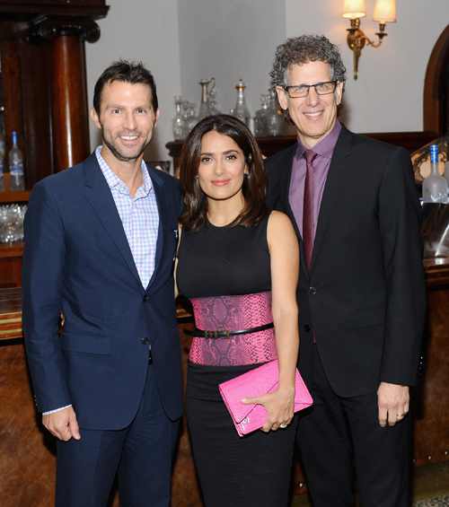 Executive Vice President, Narrative Production at Participant Media Jonathan King, actress Salma Hayek and CEO, Participant Media Jim Berk at the Kahlil Gibrans 'The Prophet' premiere party hosted by GREY GOOSE vodka and Soho House Toronto.