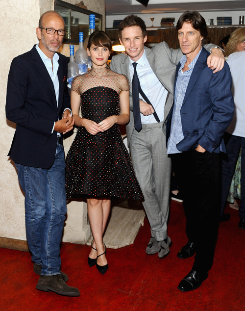 Producer Eric Fellner, actors Felicity Jones and Eddie Redmayne and director James Marsh