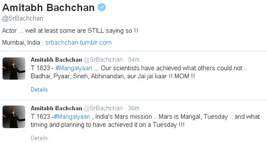 Amitabh Bachchan Congralutates ISO on the success of Mangalyaan