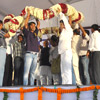 Garlanded  honour  for Nitish