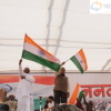 Anna Hazare waves Indian Flag at Jantantra Rally