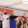 Anna Hazare addresses people at Jantantra Rally