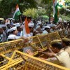 AAP protest outside the residence of Delhi Health Minister on water-electricity issue