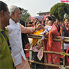 PM Narendra Modi greeting the public