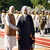 PM Modi with the President of Iran at the Ceremonial Welcome