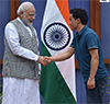 PM Modi with the Rajiv Gandhi Khel Ratna Awardee Indian shooter Jitu Rai