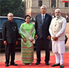 Mr. Htin Kyaw being received by the Pranab Mukherjee and Modi