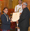 President of India presenting the Rajiv Gandhi Khel Ratna Award to Ms. Dipa Karmakar