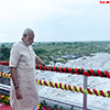 PM Narendra Modi at AJI-3 dam site of the project