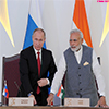 PM Modi and the President of Vladimir Putin witnessing laying of Foundation Concrete