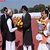 PM Narendra Modi being received by the Chief Minister of Punjab