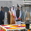 General Sheikh Mohammed Bin Zayed Al Nahyan paying floral tributes at the Samadhi of Mahatma Gandhi